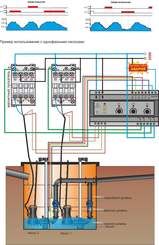 схема при подключении двух поплавковых выключателей